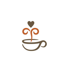 Love coffee cup drink logo vector