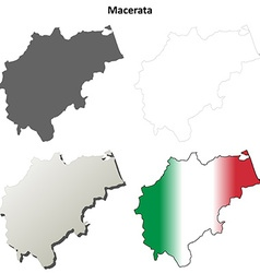 Macerata blank detailed outline map set vector