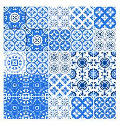 Majolica tile collection azulejo design blue vector