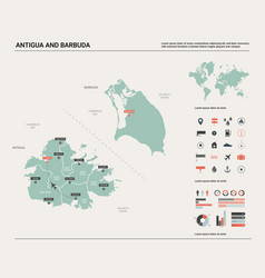 Map of antigua and barbuda high detailed country vector