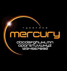 Mercury futuristic minimalist font design vector