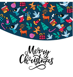 Merry christmas hand lettering greeting card for vector