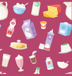 Milk everyday products seamless pattern vector