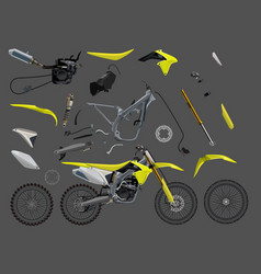 Motorcucle parts set flat full garage sale vector