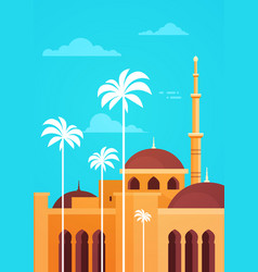 Muslim cityscape nabawi mosque building religion vector