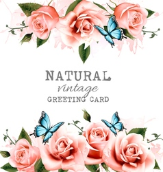 Natural background with roses Vintage vector