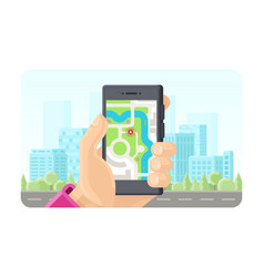 Online gps maps phone application concept in flat vector