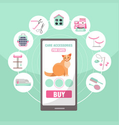 online shopping pet care accessories for cats vector image