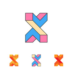 optical letter x logo templat vector image