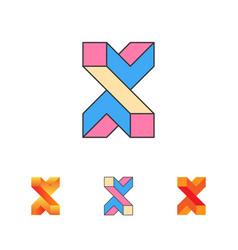 Optical letter x logo templat vector