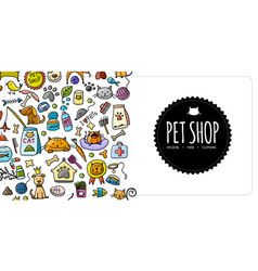 Pet shop banner vertical seamless border for your vector