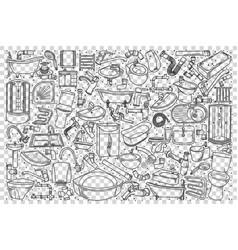 plumbing fixtures doodle set vector image
