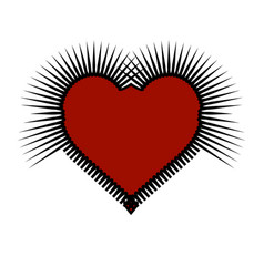 prickly gothic heart red and black art vector image