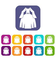 Princess dress icons set flat vector