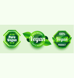 Pure vegan natural product sticker or label vector