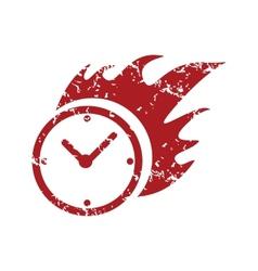 Red grunge hot clock logo vector image