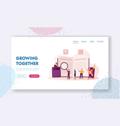 Regulation landing page template tiny characters vector