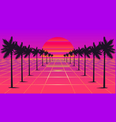 Retrowave sun and palm trees 1980s style vector