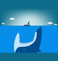 Risk shark attacking businessman vector