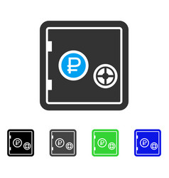 Rouble bank safe flat icon vector