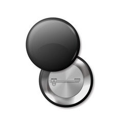 round pinned badges 3d black broches view vector image