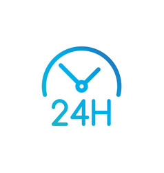 round the clock icon 24 hours working linear vector image