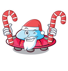 Santa with candy ufo mascot cartoon style vector