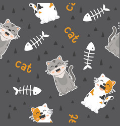 Seamless pattern cute cat smiling vector