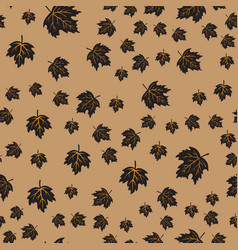Seamless pattern with black maple leaves vector