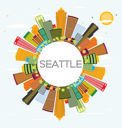 seattle skyline with color buildings and copy vector image
