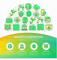 security and protection concept in half circle vector image