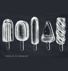 set hand drawn chalk popsicle ice cream vector image