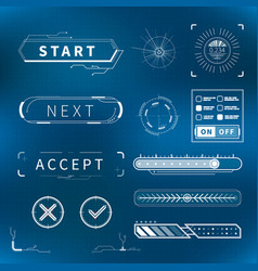 set of bright white futuristic buttons and charts vector image