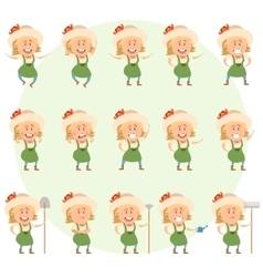 Set of gardener women flat icons vector image