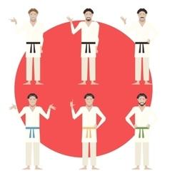 Set of Karate men vector