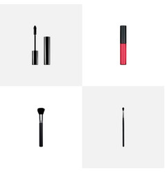 set of maquillage realistic symbols with mascara vector image