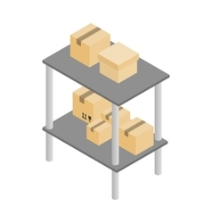 Shelves with cardboard boxes icon vector