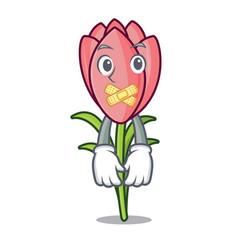 Silent crocus flower mascot cartoon vector