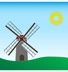 simple wind mill landscape sunny day eps10 vector image