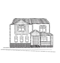 Sketch of village building vector image