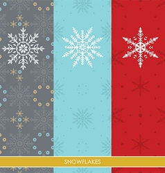 Snow Flakes Set Three Colors Background vector
