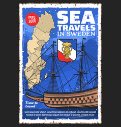 Swedish map and sailing ship sweden travel vector
