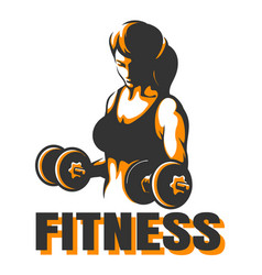 Training woman with dumbbells fitness emblem vector