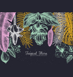 Tropical paradise frame design with hand drawn vector