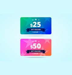 two gift vouchers with 25 and 50 dollars value vector image