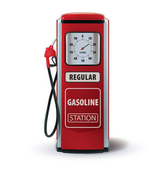 Vintage red gasoline pump 3d vector