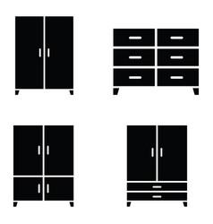 Wardrobe icon set vector