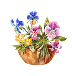 Watercolor drawing of flowerbed cute purple vector