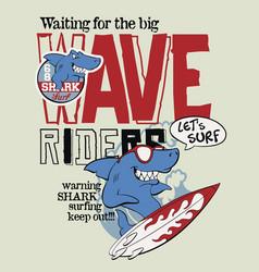 Wave rider shark surf team vector