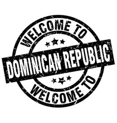 Welcome to dominican republic black stamp vector